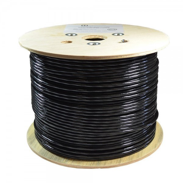 Dripstone 1000ft CAT5e FTP Foil Direct Burial Solid Bare Copper Ethernet Cable 23AWG CMX Waterproof Wire HDPE insulated Black 350Mhz